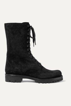 Crystal-embellished Suede Ankle Boots - Black