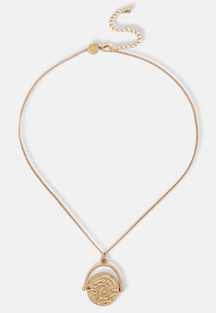 Gold Look Spinner Coin Pendant Necklace | Missguided