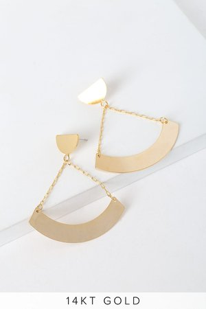 Chic Gold Geometric Earrings - Statement Earrings - Modern