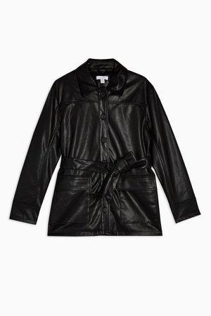 PETITE Black Faux Leather Tie Shacket | Topshop