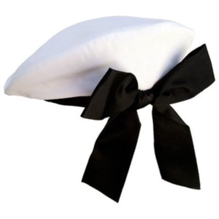 White Beret With Black Bow
