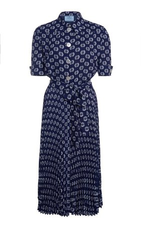 Printed Short Sleeved Dress by Prada | Moda Operandi