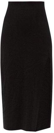 Side Slit Knitted Midi Skirt - Womens - Black