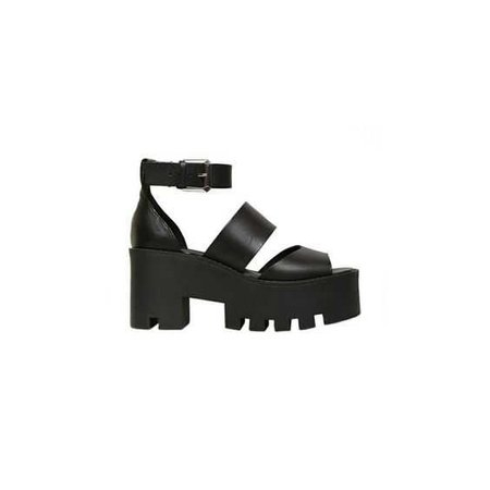 black chunky sandals