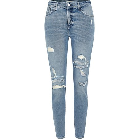 Blue ripped Amelie mid rise skinny jeans | River Island
