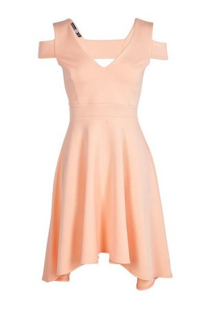 Bardot Plunge High Low Skater Dress | Boohoo