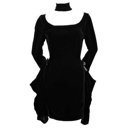 Jean Paul Gaultier black velvet dress with draped sides, 1990s For Sale at 1stdibs