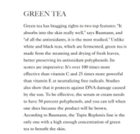 green tea editorial text