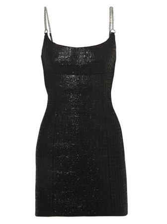Alexander Wang Chain-trimmed Coated Cotton-blend Tweed Mini Dress