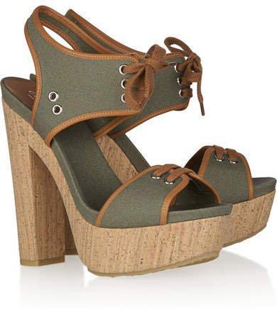 Canvas Lace-up Platform Sandals - Sage green