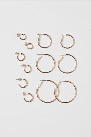 Gold Colored 6 Pairs Hoop Earrings