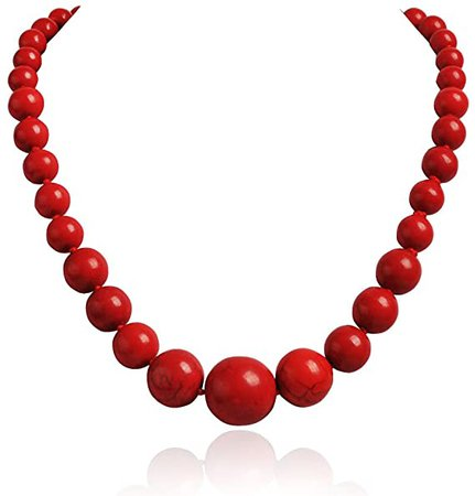 Amazon.com: Jane Stone Fashion Elegant Multi-size Coral Red Beaded Funky Necklace Statement Bib Jewelry For Mummy(Fn1270-Red): Clothing