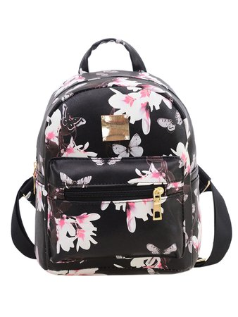 Allover Vintage Flower Print Backpack - Black