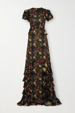 Lady Kristina Ruffled Floral-print Silk-chiffon Maxi Dress - Black