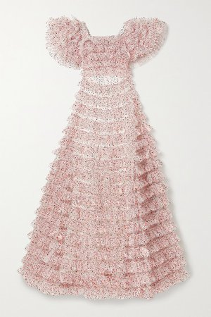 Ruffled Tiered Metallic Tulle Gown