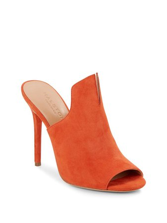 Orange Sandal Heel Mule