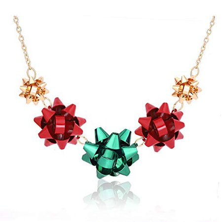 Vogueknock vogueknock Gift Bow Necklace Christmas Bow Collar Necklace Xmas Jewelry Gift Red Green Bows (Gold): Clothing