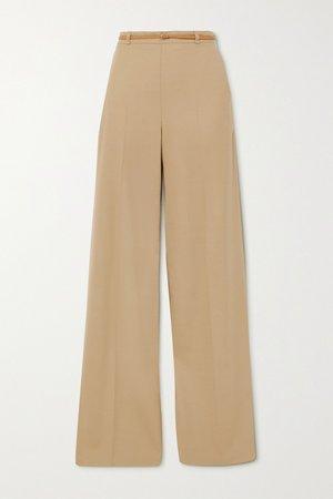 Beige Belted twill wide-leg pants   Chloé   NET-A-PORTER