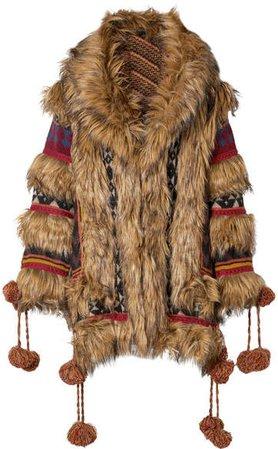 Wool-blend Jacquard And Faux Fur Coat - Brown