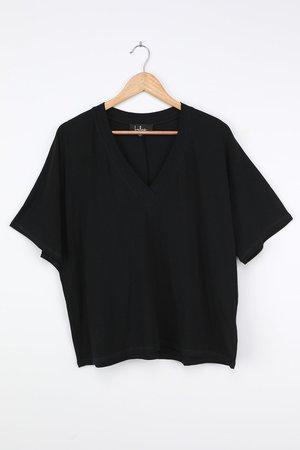 Cute Black T-Shirt - V-Neck Tee - Oversized T-Shirt