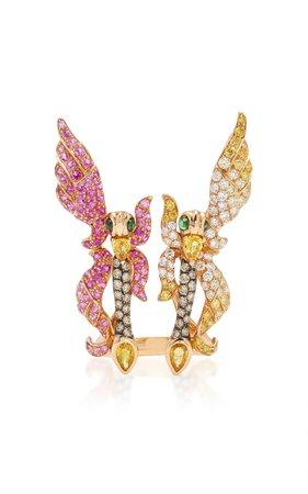 18K Rose Gold, Sapphire, Diamond And Tsavorite Ring by Wendy Yue | Moda Operandi