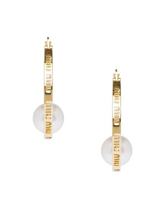 Miu Miu Miu Logo Hoop Earrings - Farfetch