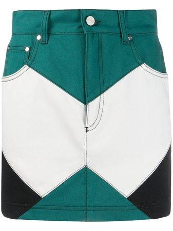 Kirin colour-block Denim Skirt - Farfetch