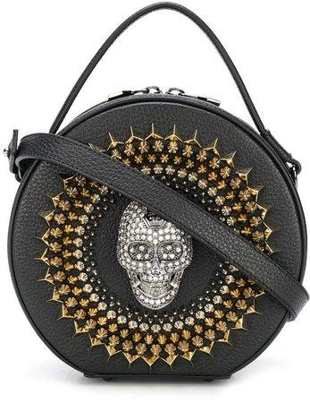 Crystal-Skull Top-Handle Circle Bag