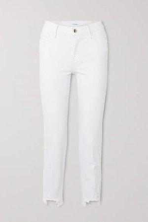Le Nouveau Cropped Distressed Mid-rise Slim-fit Jeans - White