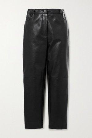 Net Sustain Hailey Vegetarian Leather Straight-leg Pants - Black