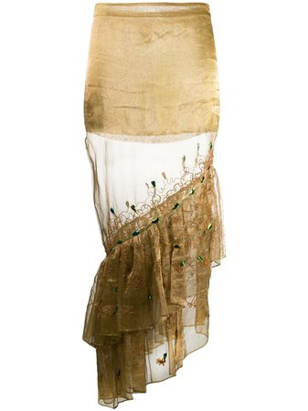 Gold Romeo Gigli Pre-Owned 1990s sheer ruffle skirt
