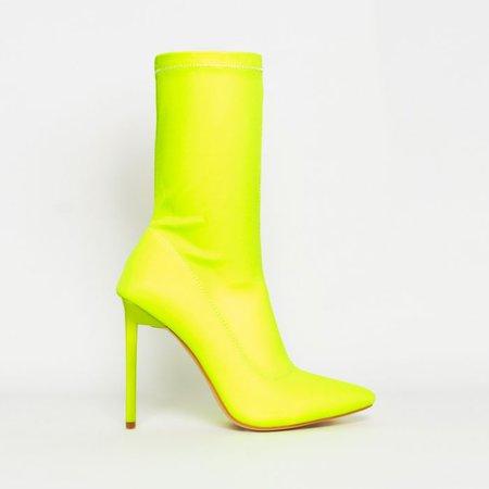 Lucinda Neon Yellow Lycra Stiletto Ankle Boots