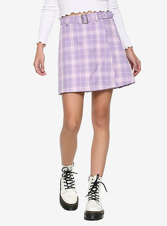 Pastel Purple Pleated & Belted Skirt