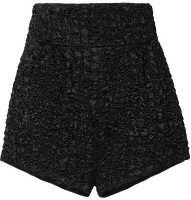 Matelassé Satin Shorts - Black
