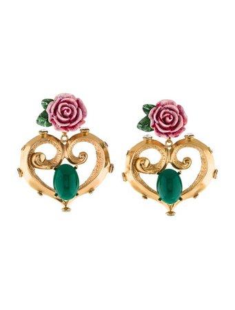 Dolce & Gabbana Resin, Crystal & Enamel Flower Heart Earrings - Earrings - DAG133865 | The RealReal