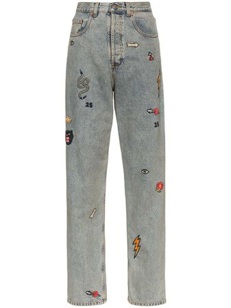 Gucci High Waist Embroidered Jeans - Farfetch