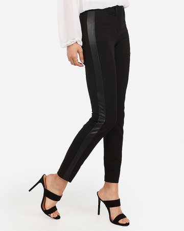 Mid Rise Vegan Leather Side Stripe Skinny Pant