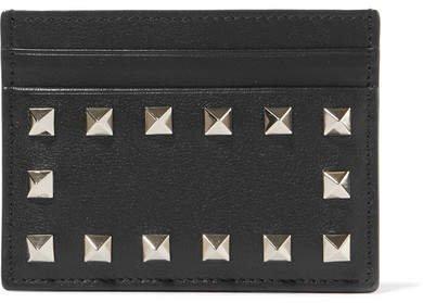 Garavani The Rockstud Leather Cardholder - Black