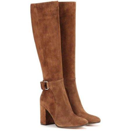 Light Brown Knee High Heel Boots