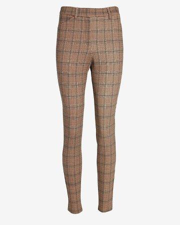 High Waisted Plaid Skinny Pant