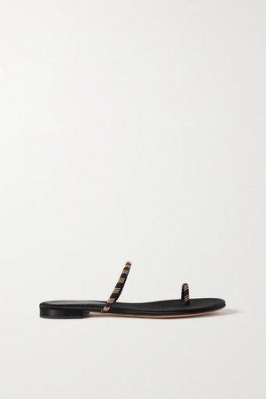 Tecla Beaded Suede Sandals - Black