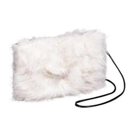 Blue Banana Faux Fur Clutch Bag, White Fluffy Handbag