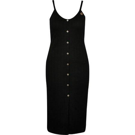 Black ribbed button front midi dress | River Island