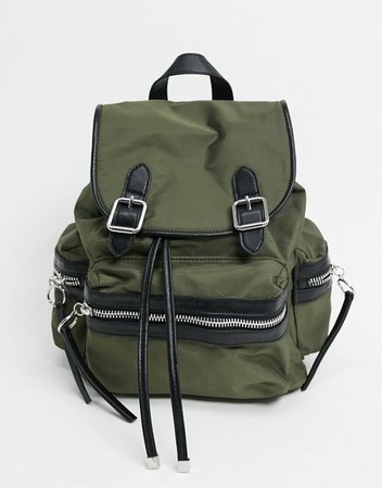 Topshop nylon backpack in khaki | ASOS