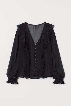 V-neck Chiffon Blouse - Black