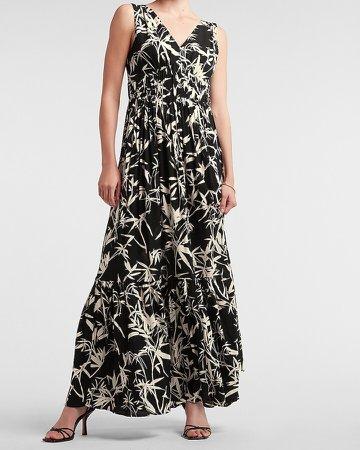 Tropical V-Neck Maxi Dress