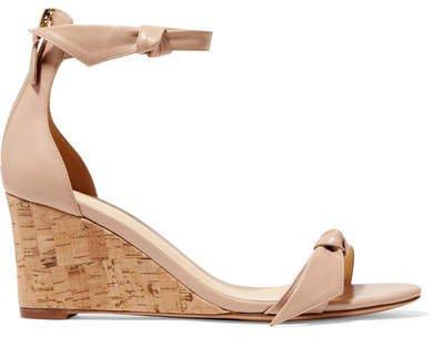 Clarita Bow-embellished Leather Wedge Sandals