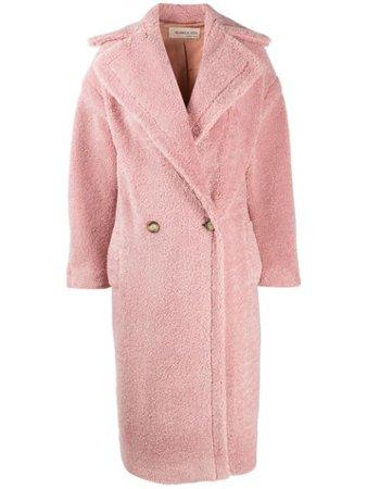 Pink Blanca Vita long double-breasted teddy coat CHIARA5203AMETISTA161528 - Farfetch