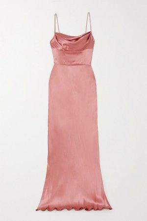 Pink Draped silk-satin gown | Dolce & Gabbana | NET-A-PORTER