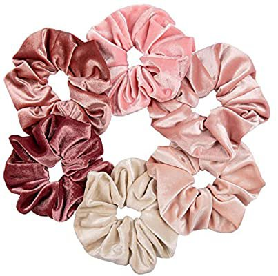 Amazon.com : Whaline Blush Theme Hair Scrunchies Large Velvet Hair Bands Pink Soft Elastic Hair Ties Hair Accessories for Girls Women, 6 Pieces : Beauty